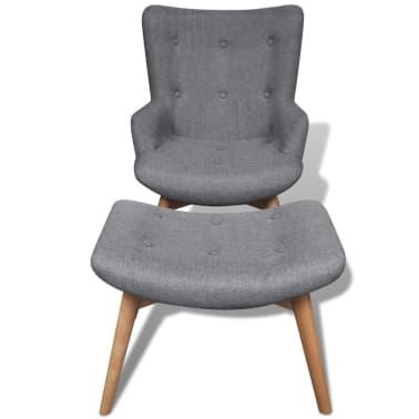 vidaXL Armchair with Footstool Grey Fabric[5/7]