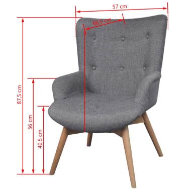 vidaXL Armchair with Footstool Grey Fabric[6/7]