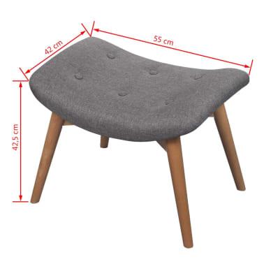 vidaXL Armchair with Footstool Grey Fabric[7/7]