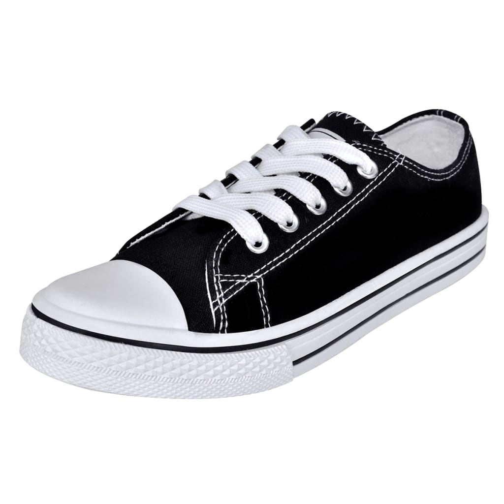 99130500 Klassischer Damen Low-top Lace-up Canvas Sneaker Schwarz Größe 36