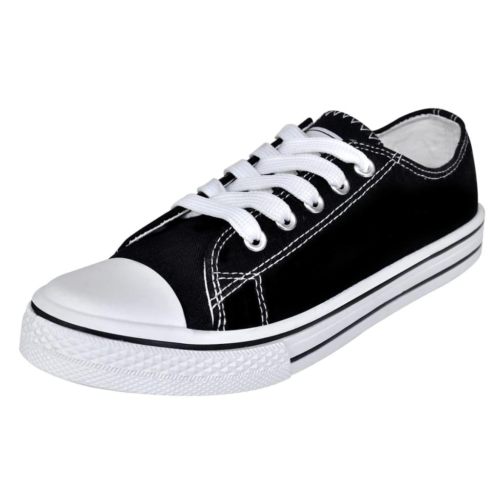 vidaXL Pantofi sport clasici femei, cu șiret, pânză, negru, mărimea 38 imagine vidaxl.ro