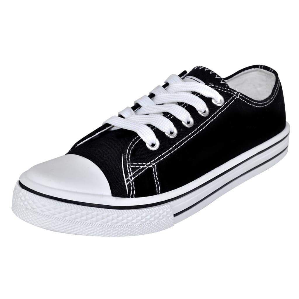 vidaXL Pantofi sport clasici femei, cu șiret, pânză, negru, mărimea 40 vidaxl.ro