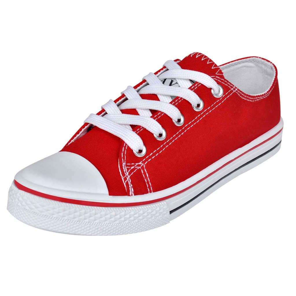 Pantofi sport clasici femei, cu șiret, pânză, roșu, mărimea 38 poza vidaxl.ro