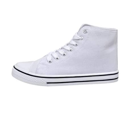 vidaXL Zapatillas altas clásicas para mujer, blancas con cordones, talla 37