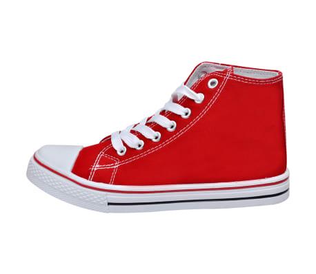Klassischer Damen High top Lace up Canvas Sneaker Rot Größe 37