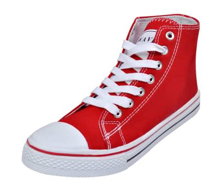 Klassischer Damen High top Lace up Canvas Sneaker Rot Größe 41