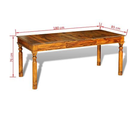 vidaXL Valg. stalas, masyvi raus. dalberg. mediena, 180x85x76 cm[6/6]