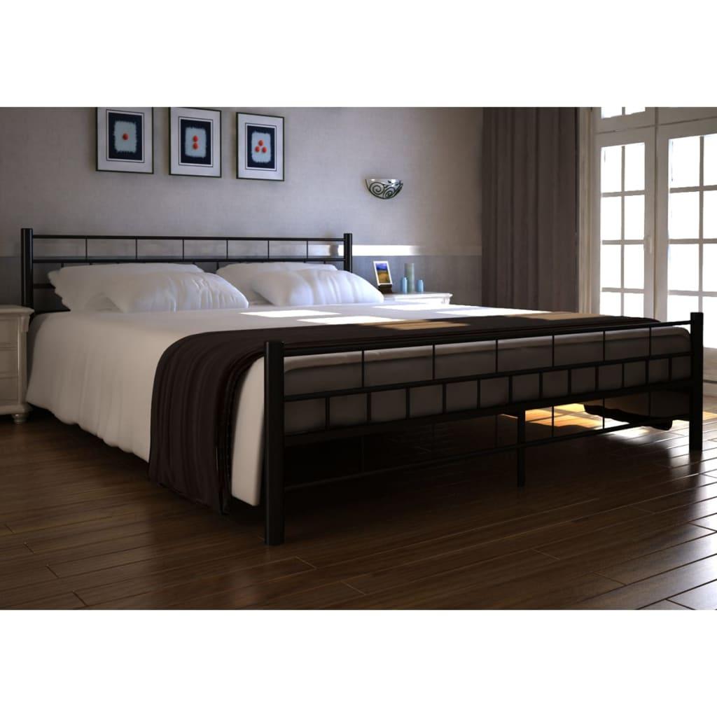Černá kovová postel + paměťová matrace & svrchní matrace 140 x 200 cm