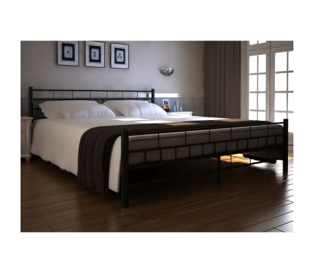 lit en m tal noir matelas en mousse visco lastique surmatelas. Black Bedroom Furniture Sets. Home Design Ideas