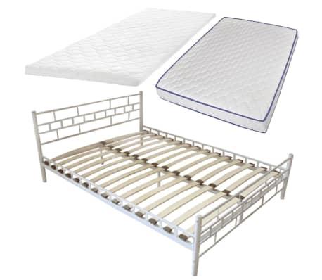 metallbett wei memory matratze memory obermatratze. Black Bedroom Furniture Sets. Home Design Ideas