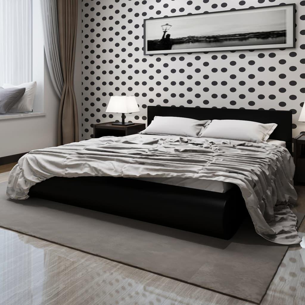 Černá postel koženka, LED + paměťová matrace & svrchní matrace 140 cm