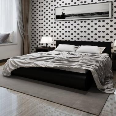 Cama matrimonio negra plataforma cuero +colchón viscoel 140 cm ...