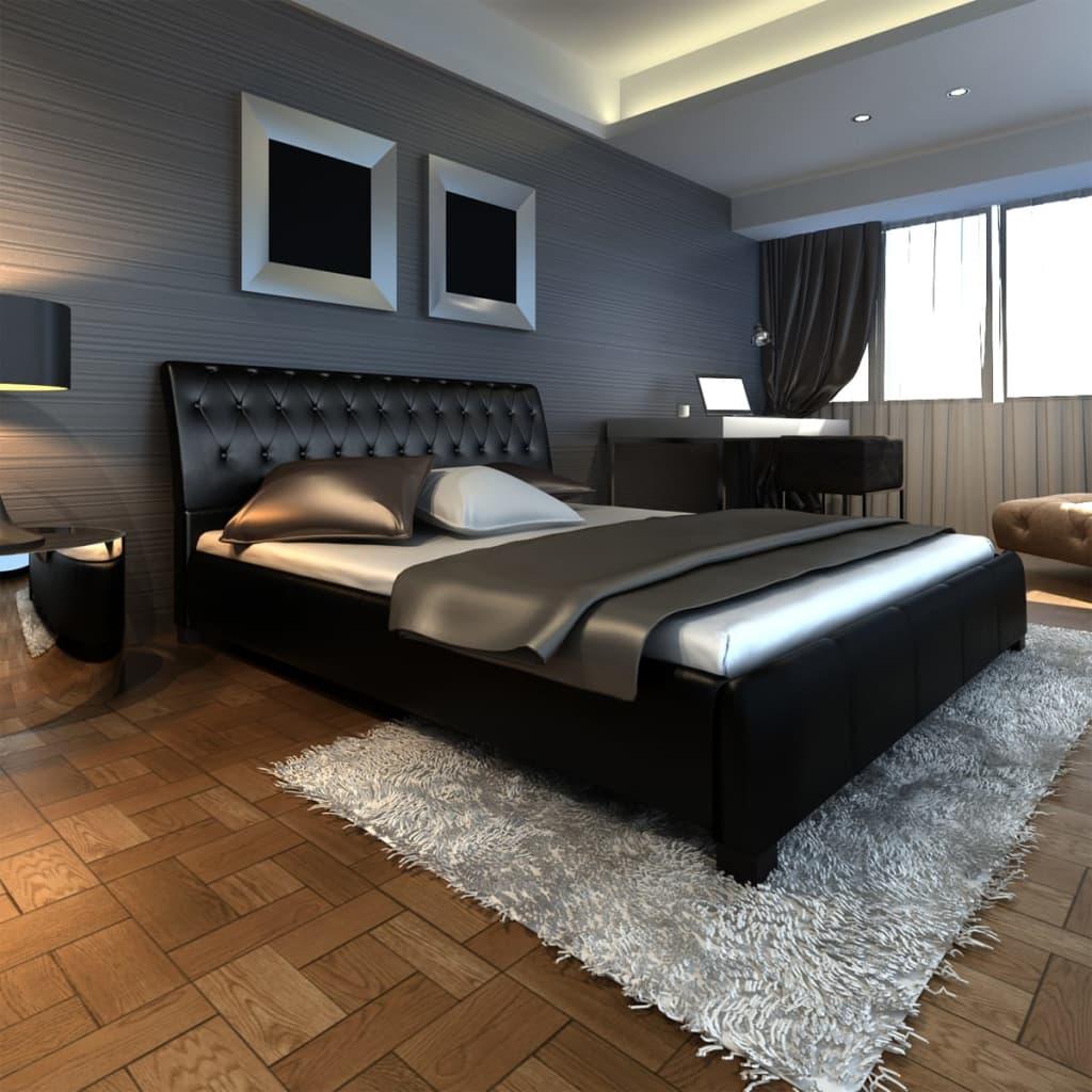 Luxusní černá postel koženka + paměťová matrace&svrchní matrace 180 cm