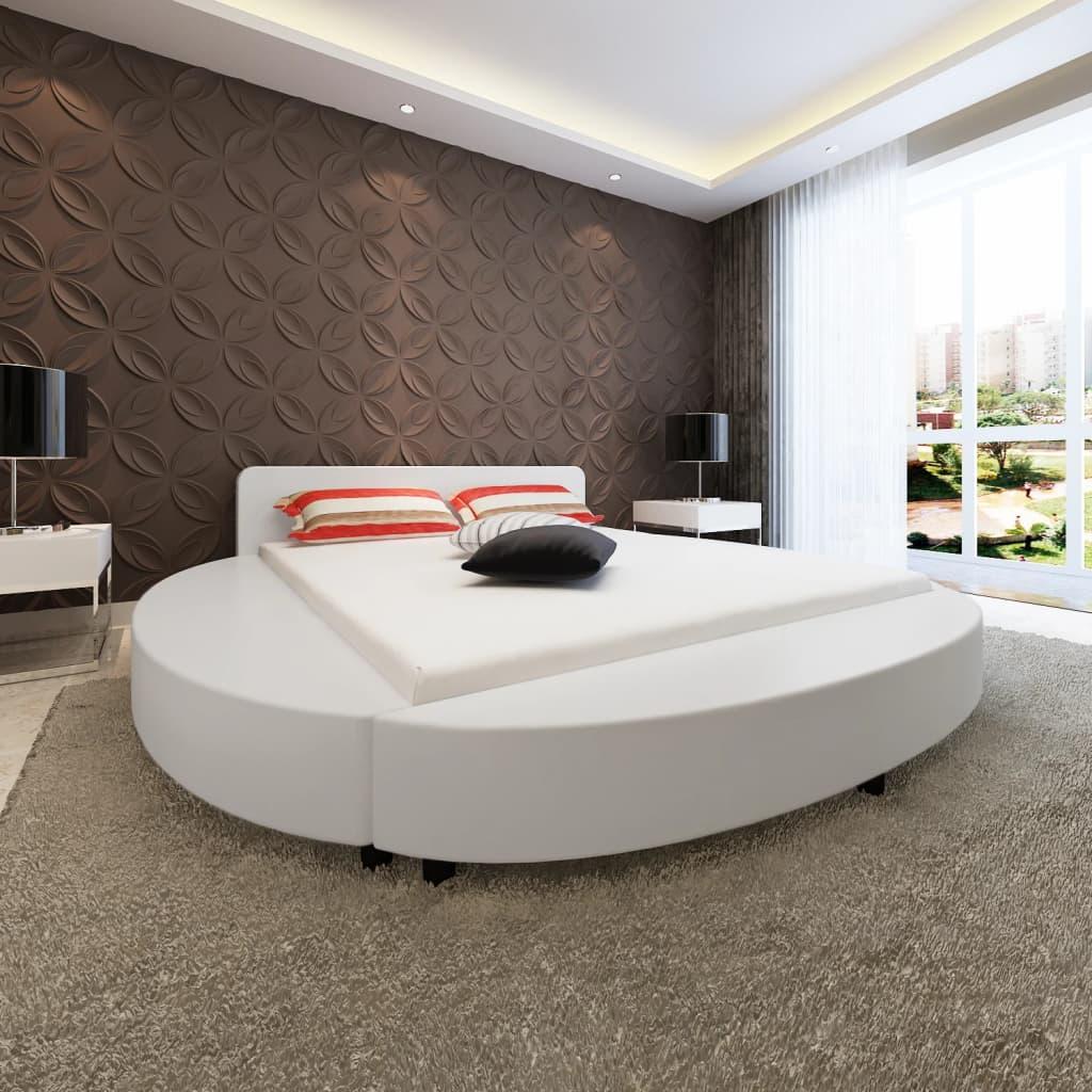 Kulatý bílý rám postele z umělé kůže+ matrace s paměťovou pěnou 180cm