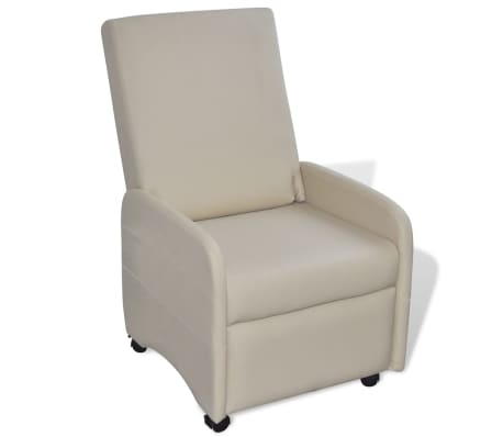 vidaXL Armchair Foldable Artificial Leather Cream[1/5]