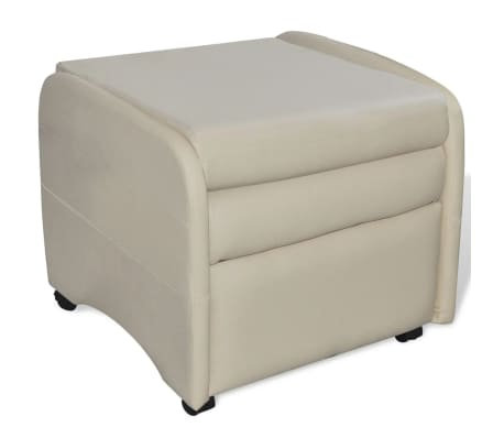 vidaXL Armchair Foldable Artificial Leather Cream[3/5]