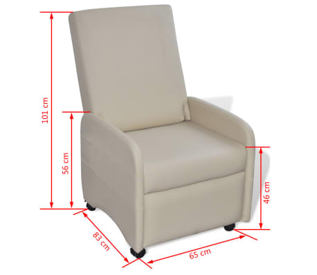vidaXL Armchair Foldable Artificial Leather Cream[5/5]