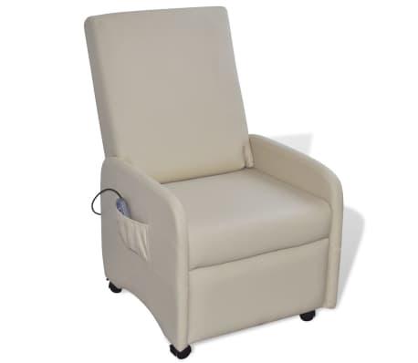 vidaXL Masažinė kėdė, kreminės spalvos, dirbtinė oda[1/9]