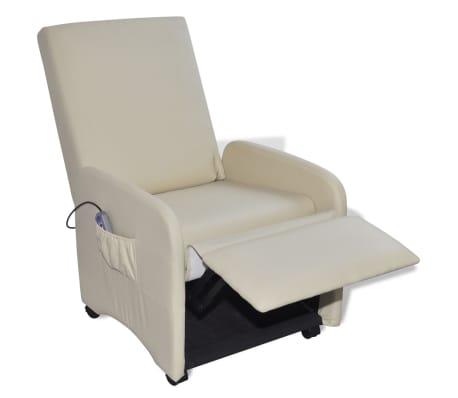 vidaXL Masažinė kėdė, kreminės spalvos, dirbtinė oda[3/9]