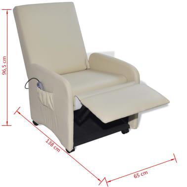 vidaXL Masažinė kėdė, kreminės spalvos, dirbtinė oda[9/9]