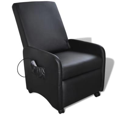 vidaXL Poltrona Massaggio Elettrica Regolabile in Similpelle Nera[1/8]