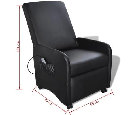 vidaXL Poltrona Massaggio Elettrica Regolabile in Similpelle Nera[8/8]