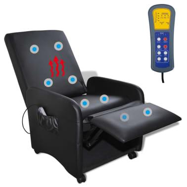 vidaXL Poltrona Massaggio Elettrica Regolabile in Similpelle Nera[5/8]