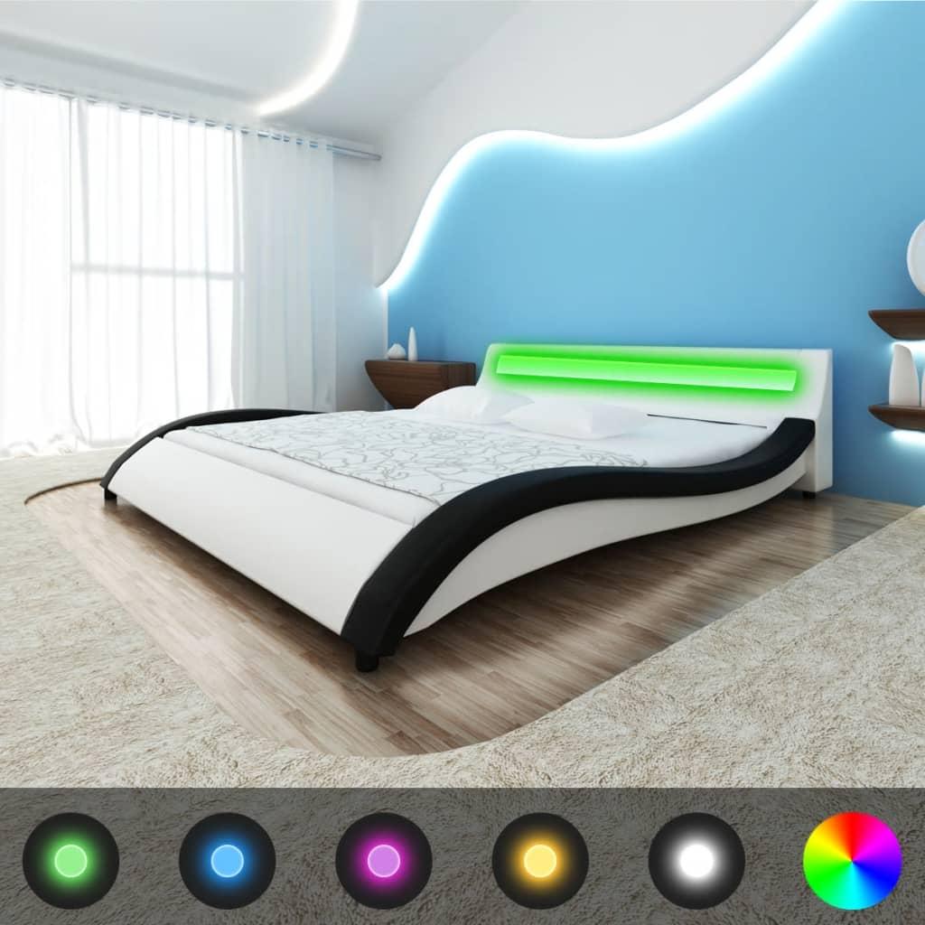 Černobílá postel koženka LED 180cm + matrace + vrchní matrace paměťová