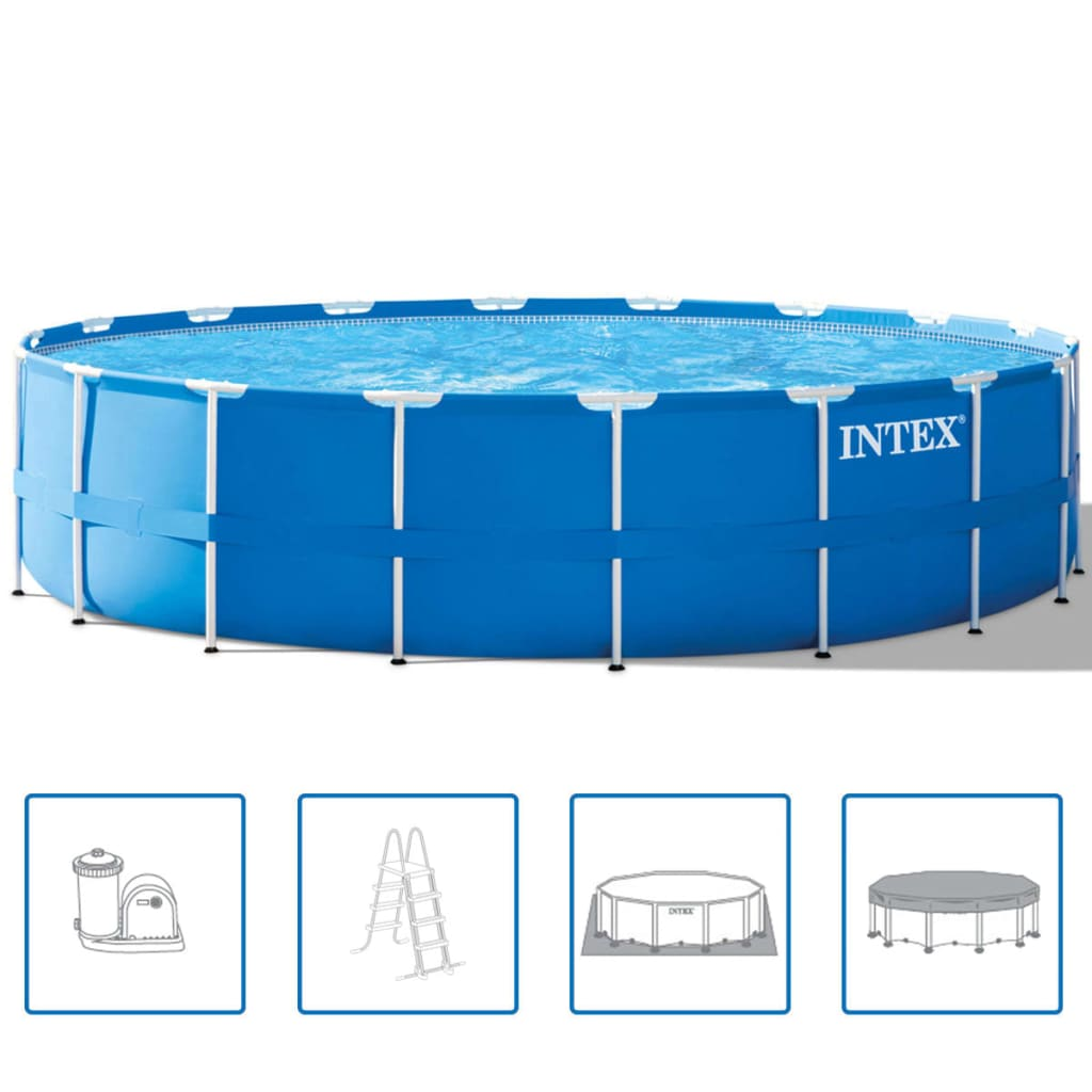 Intex Set piscină rotundă, cadru de oțel, 549 x 122 cm, 28252GN poza vidaxl.ro