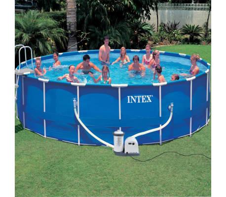 Pool mit stahlrahmen rund 549 x 122 cm 28252gn von intex for Stahlrahmen pool rund