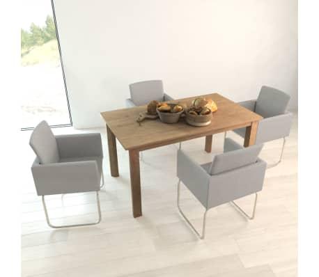 Vidaxl eetkamerstoelen met armleuning lichtgrijs 4 st for Aanbieding eetkamerstoelen met armleuning