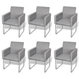vidaXL Dining Chairs 6 pcs Light Grey