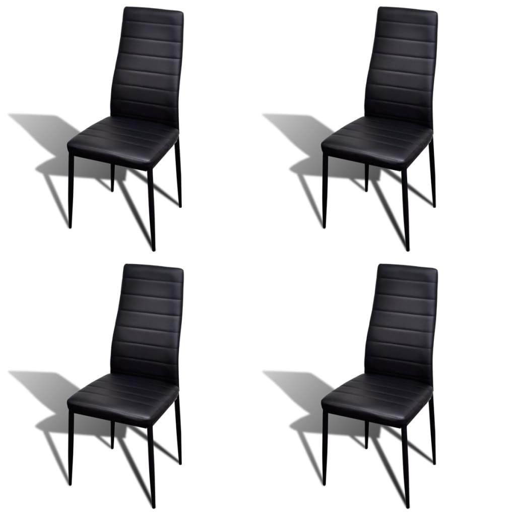 Eetkamerset 4 zwarte slim line stoelen en 1 glazen tafel
