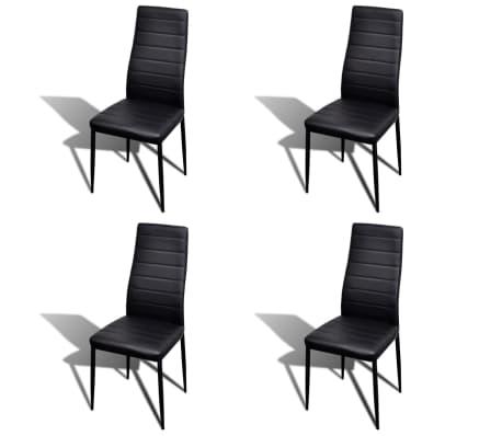 Jedilni set 4 črni stoli z ravnimi linijami in stekleno mizo[3/13]