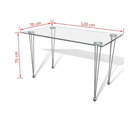 Jedilni set 4 črni stoli z ravnimi linijami in stekleno mizo[12/13]