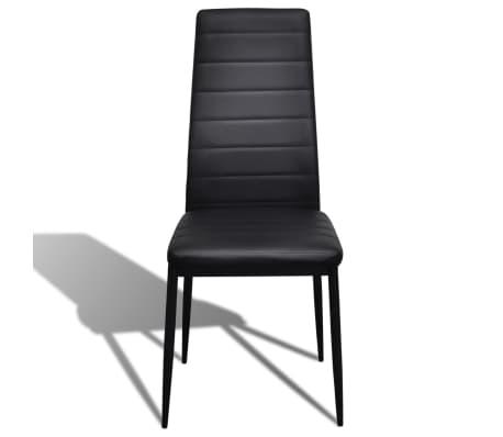 Jedilni set 4 črni stoli z ravnimi linijami in stekleno mizo[4/13]