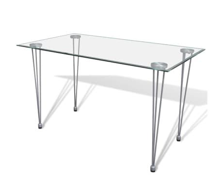 Jedilni set 4 črni stoli z ravnimi linijami in stekleno mizo[9/13]