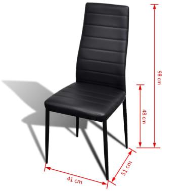 Jedilni set 4 črni stoli z ravnimi linijami in stekleno mizo[13/13]