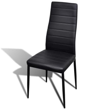 Jedilni set 4 črni stoli z ravnimi linijami in stekleno mizo[6/13]