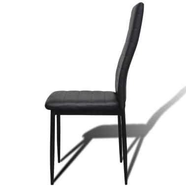 Jedilni set 4 črni stoli z ravnimi linijami in stekleno mizo[7/13]