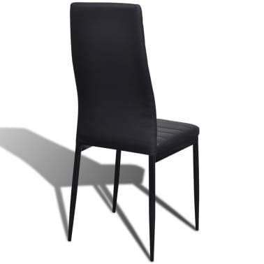 Jedilni set 4 črni stoli z ravnimi linijami in stekleno mizo[8/13]