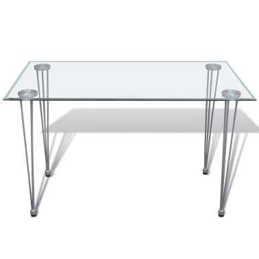 Jedilni set 4 črni stoli z ravnimi linijami in stekleno mizo[10/13]