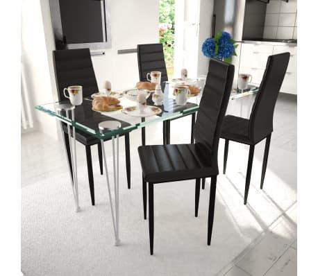 Zwarte Eetkamer Tafel.Eetkamerset 4 Zwarte Slim Line Stoelen En 1 Glazen Tafel Set