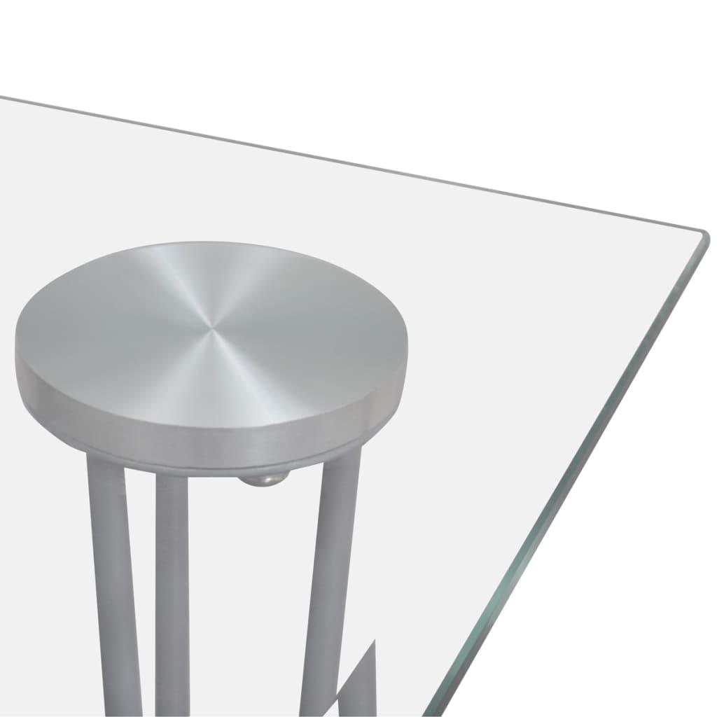 Eetkamerset 6 zwarte slim line stoelen en 1 glazen tafel