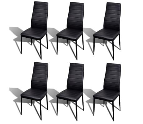 acheter lot de 6 chaises noires aux lignes fines avec une table en verre pas cher. Black Bedroom Furniture Sets. Home Design Ideas