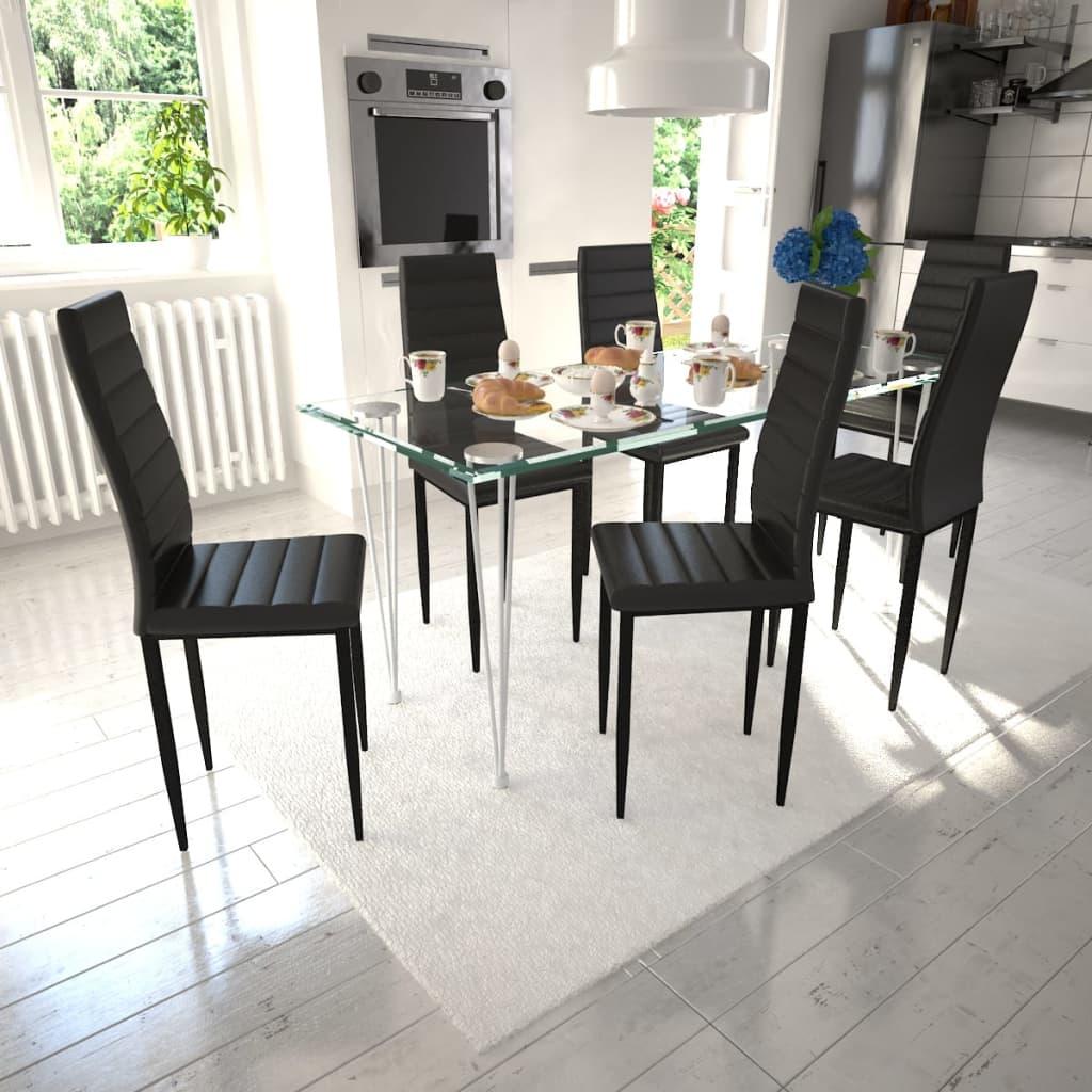 vidaXL Σετ Τραπεζαρίας Καρέκλα Λεπτή Γραμμή 6 τεμ. Μαύρη & 1 Τραπέζι Γυάλινο