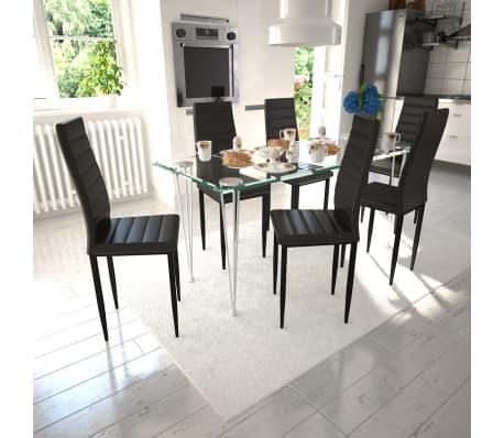 Sedie Per Tavolo Di Vetro.Dettagli Su Vidaxl Set 6 Sedie Tavola Nere Moderne Linea Sottile 1 Tavolo Vetro Per Salotto