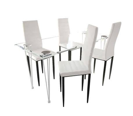 Jedilni set 4 beli stoli z ravnimi linijami in stekleno mizo