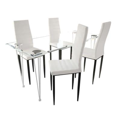 Jedilni set 4 beli stoli z ravnimi linijami in stekleno mizo[2/13]