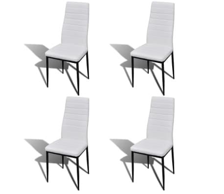 Jedilni set 4 beli stoli z ravnimi linijami in stekleno mizo[3/13]